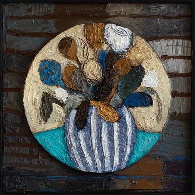Im Kreis · Öl/Sperrholz · 50x50 cm
