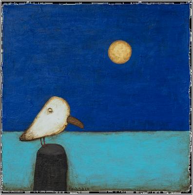 Huhn & Moon · Acryl/ Leinwand · 30 x 30 cm