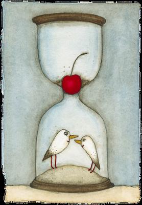 Den Glücklichen schlägt keine Stunde · Aquarell · 8x12cm