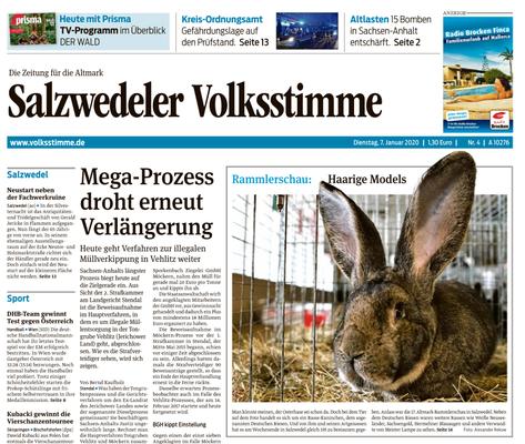 Bericht auf der Titelseite der Tagesausgabe