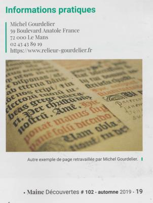 """MAINE DECOUVERTE - """" Une vie au milieu des livres """" Michel Gourdelier reliure LE MANS ( droits réservés )"""