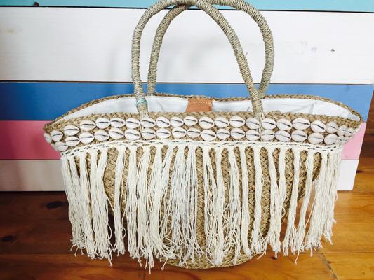 "Beachkorb ""Seashell Boho"" white 59€"