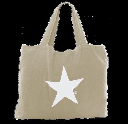 Beachbag taupe Stern white,  Höhe: 50 cm, Breite: 64 cm, Höhe: 70 cm mit Träger Waschbar bei 30°C, 119€