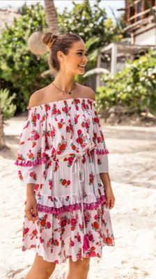 Dress Terra, red bouquet, one size, 100% Modal,   134€ on SALE -30%