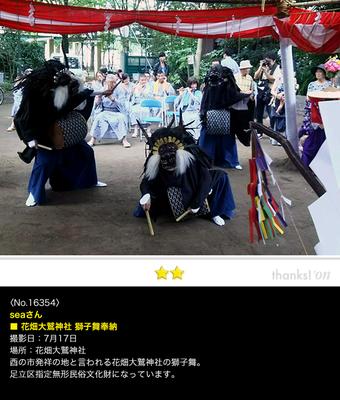 seaさん:花畑大鷲神社, 獅子舞奉納, 足立区, 2016年7月17日