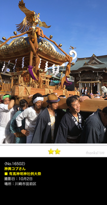 神輿コブさん:有馬神明神社例大祭, 2016年10月2日, 川崎市宮前区