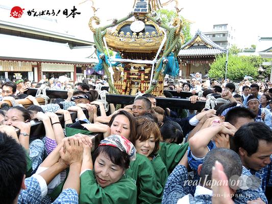亀戸天神社例大祭:十二番〈緑四天神講〉2014.08.24  Ⓒreal Japan'on!:ktj14-024