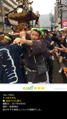 てっぽうさん:文京つつじ祭り, 2017年4月9日
