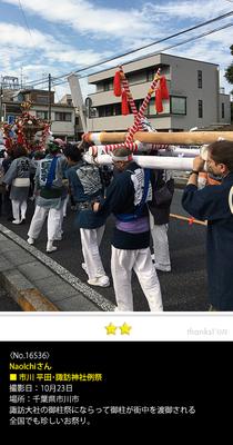 NaoIchiさん:市川 平田・諏訪神社例大祭, 2016年10月23日, 千葉県市川市