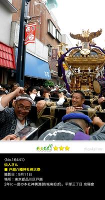 仙人さん:都腰八幡神社例大祭, 3年に一度の本社神輿渡御, 2016年9月11日