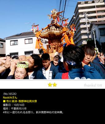 NaoIchiさん:市川 新井・熊野神社例大祭, 2016年10月16日, 千葉県市川市, 4年に一度行われるお祭り。新井熊神社の宮神輿。