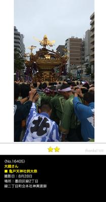 大鐡さん:亀戸天神社例大祭, 緑二丁目町会 本社神輿渡御 , 2016年8月28日