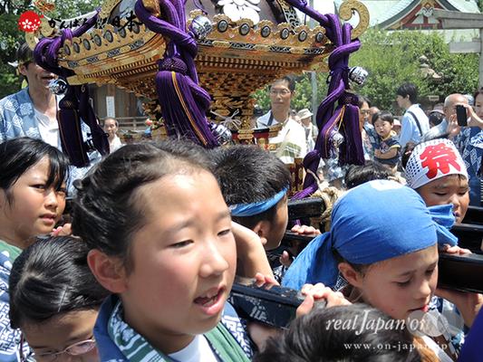 亀戸天神社例大祭:十三番〈緑一天神講〉子供神輿 2014.08.24 Ⓒreal Japan'on!:ktj14-027