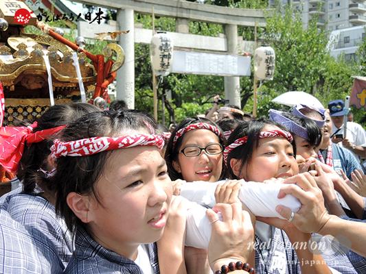 亀戸天神社例大祭:十七番〈両四天神講〉子供神輿 2014.08.24 Ⓒreal Japan'on!:ktj14-036