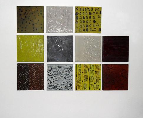 Wandinstallation · Acryl auf Leinwand · 40x40 cm