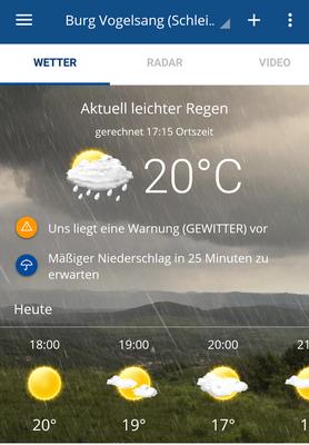 Regen und Gewitter digital angekündigt