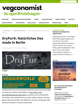VEGCONOMIST - Onlineartikel August 2019 - Drypur Natürliches Deo made in Berlin