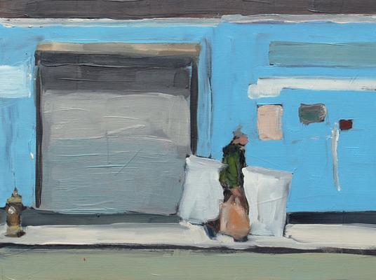 Soho Blue (Suite Lane), 2011, Öl auf Holz, 30cm X 40cm, Privatbesitz