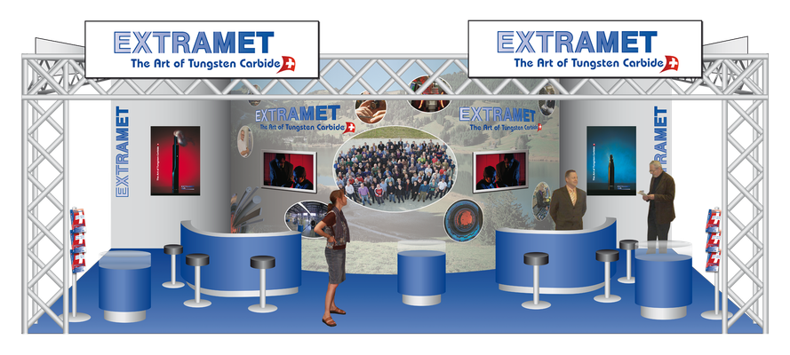 3D Plan für einen Messestand der Firma Extramet AG
