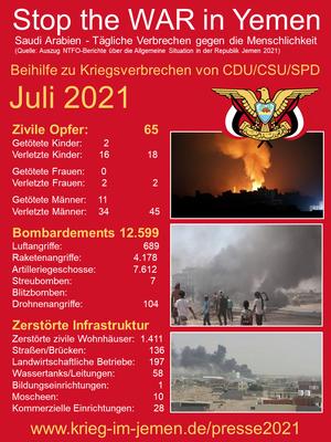 07/2021 - Jemen - tagtägliche Kriegsverbrechen der Saudi/Emirati-Kriegskoalition