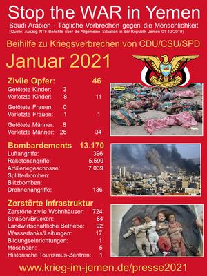 01/2021 - Jemen - tagtägliche Kriegsverbrechen der Saudi/Emirati-Kriegskoalition