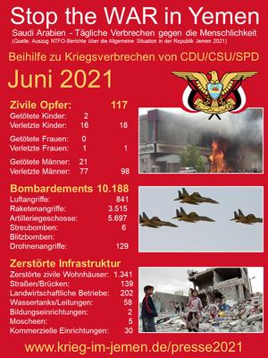 06/2021 - Jemen - tagtägliche Kriegsverbrechen der Saudi/Emirati-Kriegskoalition