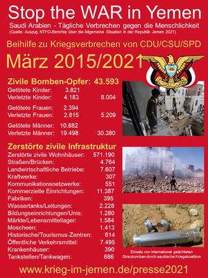 03.2015 - 03/2021: CDU/CSU, SPD - Beihilfe zu Kriegsverbrechen, Verbrechen gegen die Menschlichkeit und Völkermord im von Saudi Arabien geführten völkerrechtswidrigen Krieg gegen Jemen