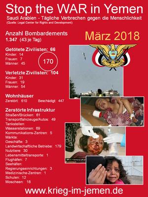 LCRD Statistik: März 2018 – Tägliche  Kriegsverbrechen Saudi Arabien und Kriegskoalition im Jemen