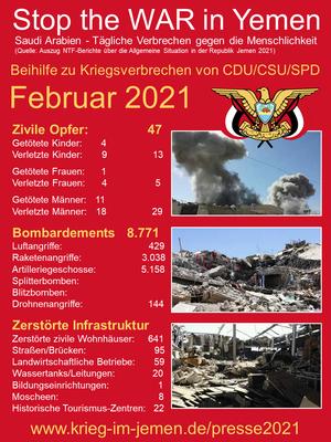 02/2021 - Jemen - tagtägliche Kriegsverbrechen der Saudi/Emirati-Kriegskoalition