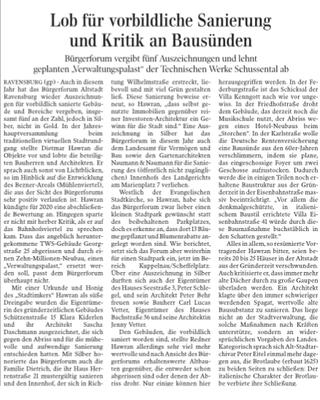 Artikel aus der Ravensburger Lokalsausgabe der Schwäbischen Zeitung vom 24. 11. 2019 von Günther Peitz
