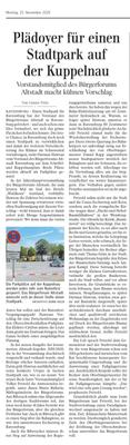 Artikel aus der Ravensburger Lokalsausgabe der Schwäbischen Zeitung vom 25. 11. 2019 von Günther Peitz