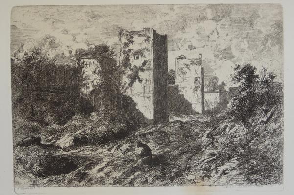 Saint-Etienne, Le paysage aux remparts, 117x173.