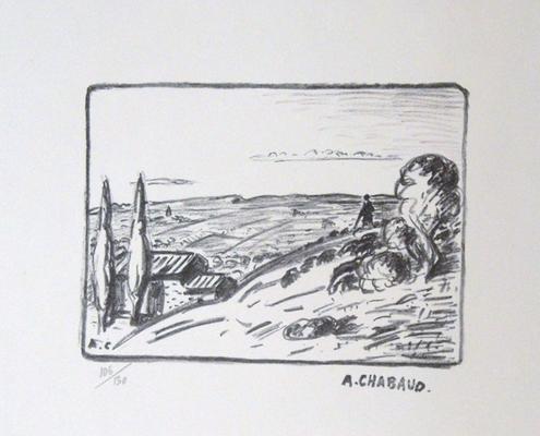 Chabaud, paysage provençal, 180x260, 130 ex, tirage posthume.