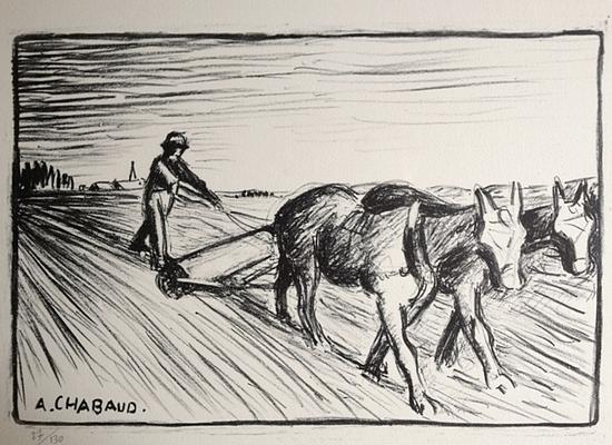 Chabaud, le laboureur de face, 270x390, 130 ex, tirage posthume.