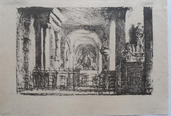 Intérieur d'église (Pont-en-Royans),  1909, 16 x25 cm