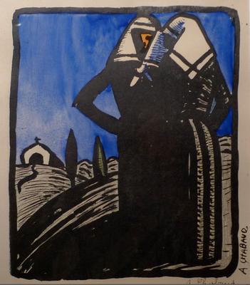 Chabaud, Deux femmes au foulard, 240x200, 15 ex, rehaussé à la gouache.