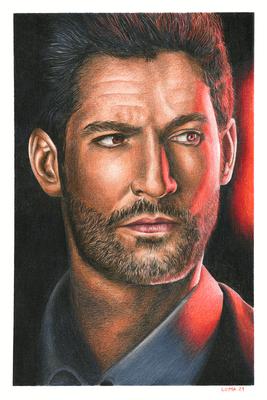 [non disponible] Lucifer (Tom Ellis), crayons de couleurs, A4, 2021