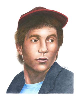 Paul Simon, crayons de couleurs, 27,9 x 35,6 cm, 2021