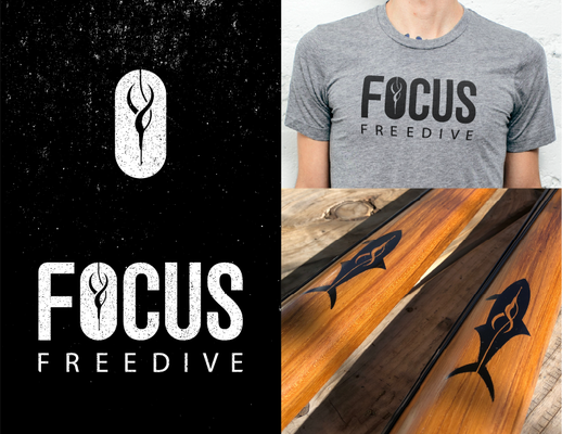 Logo and lockup for Focus Freedive, a local freedriving and spear-fishing instructor.