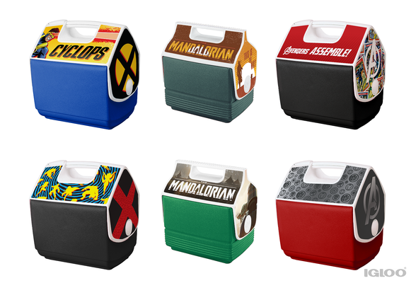 Unused mockups for X-MEN, The Mandalorian, and Marvel's Avengers coolers for Igloo.
