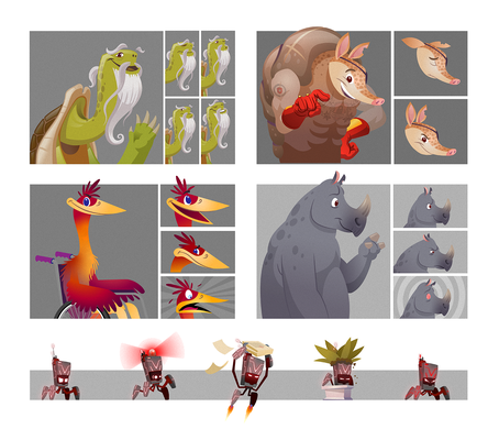 Character designs and expressions for an elearning course.