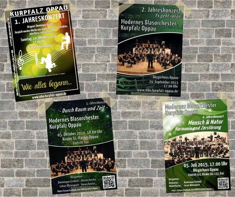 Die Plakate zu den ersten zehn Jahreskonzerten des Modernen Blasorchesters Oppau (MBO). Bildrechte: MBO