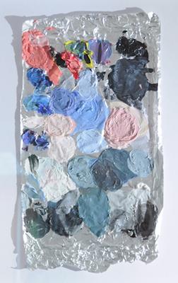 "number five (""the evidence"" series) oil on aluminium, 55 x 65 cm (framed), 2016"