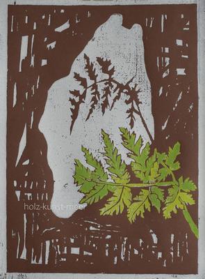 Holzschnitt Farn, hell- und dunkelgrün, auf braunem Künstlerpapier