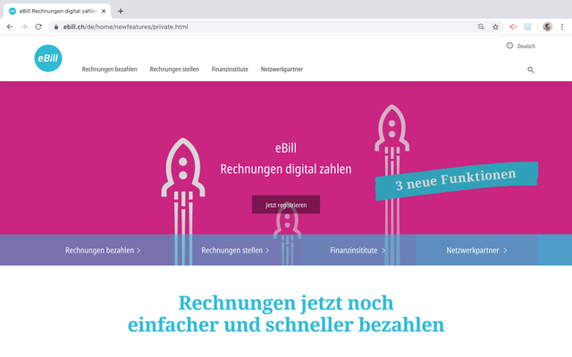 """eBill """"Neue Funktionen"""""""