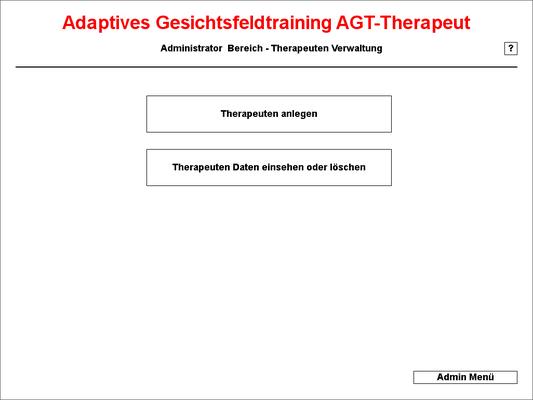 das Therapeuten Menu des Admin