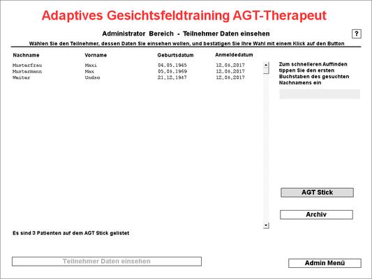 Patientenauswahlfenster AGT Stick - hier können Sie die Teilnehmer auswählen, um zu deren Entwicklungsverlauf zu kommen