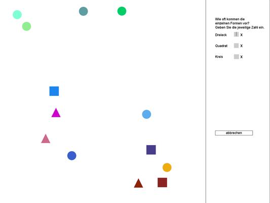 Suchbilder Level 10 - die Formen bewegen sich über den Bildschirm - wechseln die Farbe beim Anstoßen an den Rand - verändern sich ständig