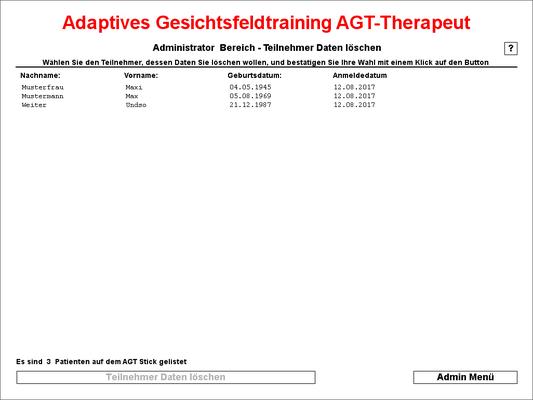 hier können die Teilnehmerdaten vom AGT Stick gelöscht werden