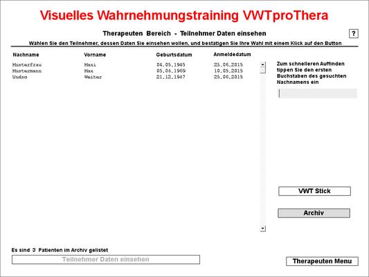 Patientenauswahlfenster Archiv - hier können Sie die Teilnehmer auswählen, um zu deren Entwicklungsverlauf zu kommen
